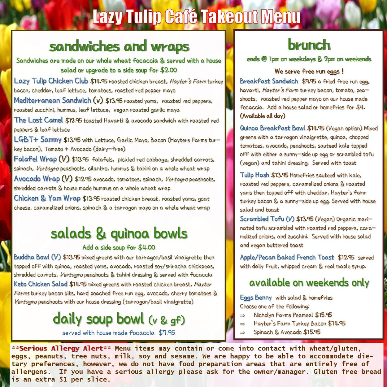 Lazy Tulip Cafe takeout menu