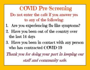 COVID Pre-Screening Questions